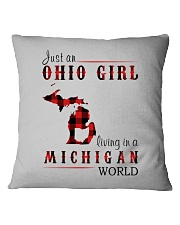 JUST AN OHIO GIRL IN A MICHIGAN WORLD Square Pillowcase thumbnail