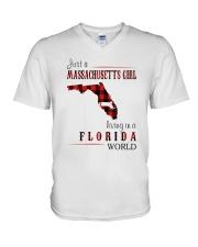 JUST A MASSACHUSETTS GIRL IN A FLORIDA WORLD V-Neck T-Shirt thumbnail