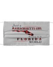 JUST A MASSACHUSETTS GIRL IN A FLORIDA WORLD Cloth face mask thumbnail