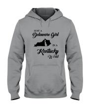 JUST A DELAWARE GIRL IN A KENTUCKY WORLD Hooded Sweatshirt thumbnail