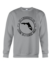 MASSACHUSETTS GIRL LIVING IN FLORIDA WORLD Crewneck Sweatshirt thumbnail