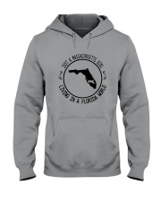 MASSACHUSETTS GIRL LIVING IN FLORIDA WORLD Hooded Sweatshirt front