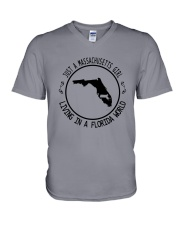MASSACHUSETTS GIRL LIVING IN FLORIDA WORLD V-Neck T-Shirt thumbnail