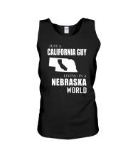 JUST A CALIFORNIA GUY IN A NEBRASKA WORLD Unisex Tank thumbnail