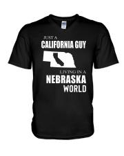 JUST A CALIFORNIA GUY IN A NEBRASKA WORLD V-Neck T-Shirt thumbnail
