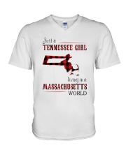 JUST A TENNESSEE GIRL IN A MASSACHUSETTS WORLD V-Neck T-Shirt thumbnail