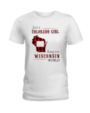 JUST A COLORADO GIRL IN A WISCONSIN WORLD Ladies T-Shirt thumbnail