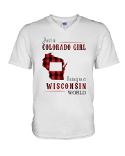 JUST A COLORADO GIRL IN A WISCONSIN WORLD V-Neck T-Shirt thumbnail
