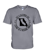 CALIFORNIA GIRL LIVING IN MISSOURI WORLD V-Neck T-Shirt thumbnail