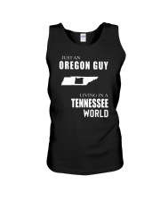 JUST AN OREGON GUY IN A TENNESSEE WORLD Unisex Tank thumbnail