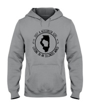 WISCONSIN GIRL LIVING IN ILLINOIS WORLD Hooded Sweatshirt front