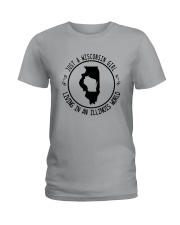 WISCONSIN GIRL LIVING IN ILLINOIS WORLD Ladies T-Shirt thumbnail