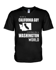 JUST A CALIFORNIA GUY IN A WASHINGTON WORLD V-Neck T-Shirt tile