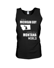 JUST A MICHIGAN GUY IN A MONTANA WORLD Unisex Tank thumbnail