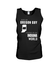 JUST AN OREGON GUY IN AN INDIANA WORLD Unisex Tank thumbnail