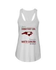 JUST A CONNECTICUT GIRL IN A NORTH CAROLINA WORLD Ladies Flowy Tank thumbnail