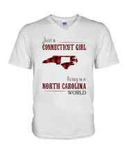 JUST A CONNECTICUT GIRL IN A NORTH CAROLINA WORLD V-Neck T-Shirt thumbnail