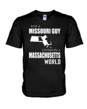 JUST A MISSOURI GUY IN A MASSACHUSETTS WORLD V-Neck T-Shirt thumbnail