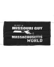 JUST A MISSOURI GUY IN A MASSACHUSETTS WORLD Cloth face mask thumbnail