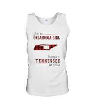 JUST AN OKLAHOMA GIRL IN A TENNESSEE WORLD Unisex Tank tile
