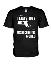 JUST A TEXAS GUY IN A MASSACHUSETTS WORLD V-Neck T-Shirt thumbnail