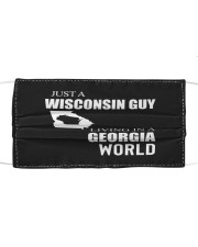 JUST A WISCONSIN GUY IN A GEORGIA WORLD Cloth face mask thumbnail