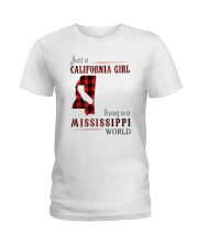 JUST A CALIFORNIA GIRL IN A MISSISSIPPI WORLD Ladies T-Shirt thumbnail