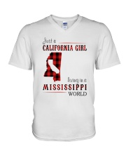 JUST A CALIFORNIA GIRL IN A MISSISSIPPI WORLD V-Neck T-Shirt thumbnail