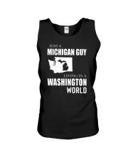 JUST A MICHIGAN GUY IN A WASHINGTON WORLD Unisex Tank thumbnail