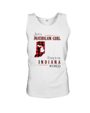 JUST A MICHIGAN GIRL IN AN INDIANA WORLD Unisex Tank thumbnail