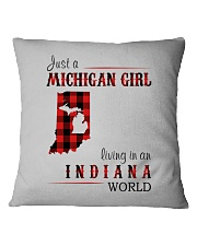 JUST A MICHIGAN GIRL IN AN INDIANA WORLD Square Pillowcase tile