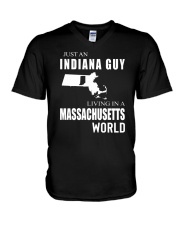 JUST AN INDIANA GUY IN A MICHIGAN WORLD V-Neck T-Shirt thumbnail