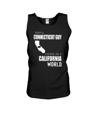 JUST A CONNECTICUT GUY IN A CALIFORNIA WORLD Unisex Tank thumbnail