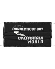JUST A CONNECTICUT GUY IN A CALIFORNIA WORLD Cloth face mask thumbnail
