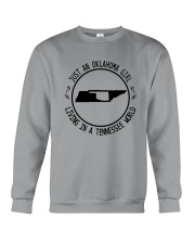 OKLAHOMA GIRL LIVING IN TENNESSEE WORLD Crewneck Sweatshirt tile