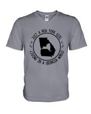 NEW YORK GIRL LIVING IN GEORGIA WORLD V-Neck T-Shirt thumbnail