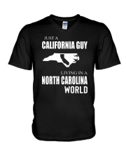 JUST A CALIFORNIA GUY IN A NORTH CAROLINA WORLD V-Neck T-Shirt tile