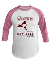 JUST A WASHINGTON GIRL IN A NEW YORK WORLD Baseball Tee thumbnail