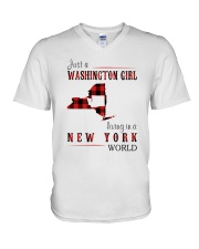 JUST A WASHINGTON GIRL IN A NEW YORK WORLD V-Neck T-Shirt thumbnail