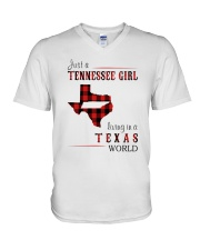 JUST A TENNESSEE GIRL IN A TEXAS WORLD V-Neck T-Shirt thumbnail
