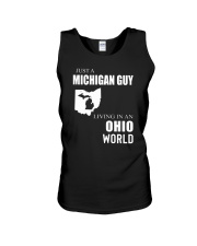JUST A MICHIGAN GUY IN AN OHIO WORLD Unisex Tank thumbnail