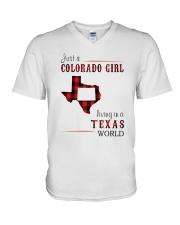 JUST A COLORADO GIRL IN A TEXAS WORLD V-Neck T-Shirt thumbnail