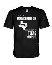 JUST A MASSACHUSETTS GUY IN A TEXAS WORLD V-Neck T-Shirt thumbnail