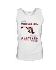 JUST A MICHIGAN GIRL IN A MARYLAND WORLD Unisex Tank thumbnail