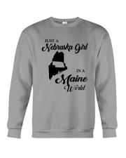 JUST A NEBRASKA GIRL IN A MAINE WORLD Crewneck Sweatshirt thumbnail