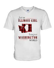 JUST AN ILLINOIS GIRL IN A WASHINGTON WORLD V-Neck T-Shirt thumbnail