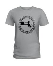 PENNSYLVANIA GIRL LIVING IN MASSACHUSETTS WORLD Ladies T-Shirt thumbnail
