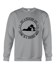 MICHIGAN GIRL LIVING IN VIRGINIA WORLD Crewneck Sweatshirt thumbnail
