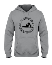 MICHIGAN GIRL LIVING IN VIRGINIA WORLD Hooded Sweatshirt front