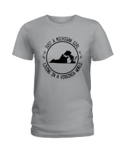MICHIGAN GIRL LIVING IN VIRGINIA WORLD Ladies T-Shirt thumbnail